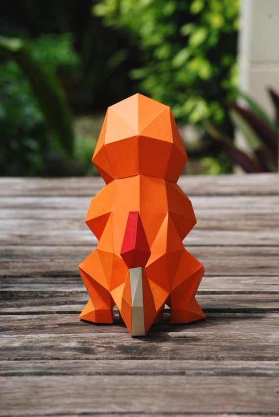 Paper Craft DIY Charmander Pokemon Model Art