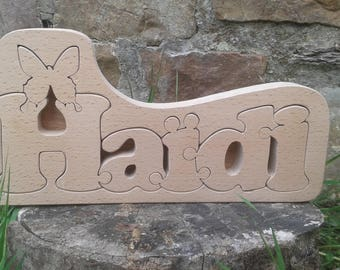 Wooden name, compose your child's name in a gift box