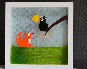 The Raven and the Fox painting on glass 24 / 24cm