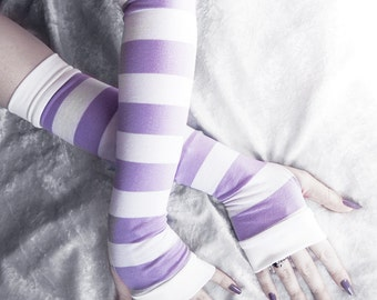 Thoughts of Allium - White & Lavender Lilac Light Purple Striped Cotton Arm Warmers  - Gothic Belly Dance Tribal Yoga Cycling Orchid Violet