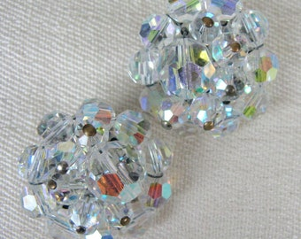 Vintage 50s 1950s Beaded Crystal Clip Earrings Silver Tone Metal Unsigned