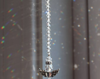 Swarovski Crystal Clear Angels with Heart Wings Sun Catcher, Rainbow Maker, Window Prism for Home or Car