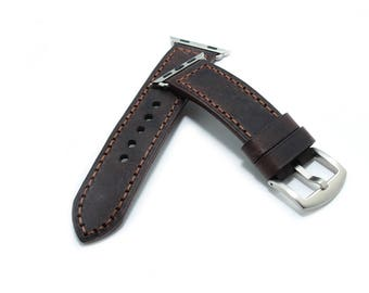 Hand Stitched Leather Apple Watch band in Italian VINTAGE Washing DARK BROWN Espresso