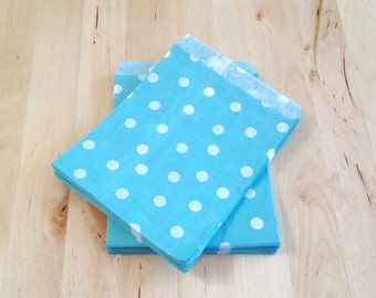 25 Blue Polka Dot Paper Bags - Candy Party Favor Packaging Supplies