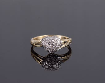 k 0.30 Ctw Diamond Pave Heart Two Tone Bypass Ring Gold