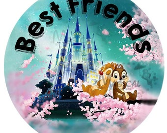 Chip and Dale Best Friends Button-Disney Best Friends Button- Best Friends Pins-Disney buttons-Disney Pins-
