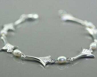 Lotus flower bracelet, Egyptian silver bracelet, silver and pearl bracelet, women dainty bracelet, wedding bracelet, handmade bracelet