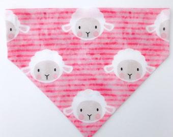 "Over the collar (slide on)  Pet Bandana -  Size MED/LARGE - ""Happy Easter to Ewe"" bandana"