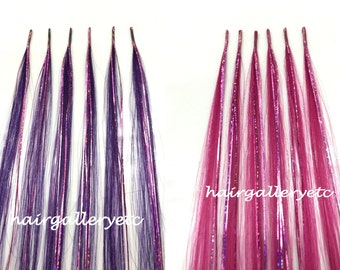 "12"" Hair Tinsel 100% Human Hair Extension i-tip + Silicone lined Micro Hair Beads"