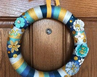 Blue and Yellow Wreath / Blue Yarn Wreath / Yellow Yarn Wreath / Summer Yarn Wreath / Blue Yellow Flower Wreath / Blue Flower Yarn Wreath