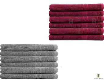 6 Pieces Bath Towels Set 100% Pure Egyptian Cotton 600GSM Commercial Quality