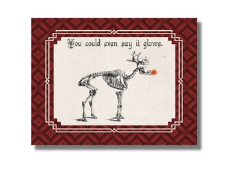 FREE SHIPPING Set Of 6- Weird Christmas Card, Rudolph Skeleton, Reindeer Skeleton, Twisted Christmas Oso And Bean