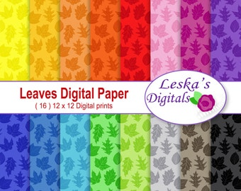 Leaves Digital Scrapbook Paper Pack in rainbow colors for autumn and fall projects - Fall Scrapbook Paper