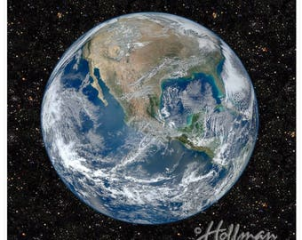 """Earth Fabric - Space Out of this World Realistic Planet from Space- By Hoffman Q4407-58-EARTH Out Of This World. 100 Percent Cotton 43""""x43"""""""