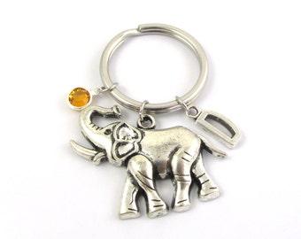 Elephant Keychain- choose a birthstone and initial, Elephant Keyring, Elephant Gift, Elephant Charm, Personalized Elephant, Large Elephant
