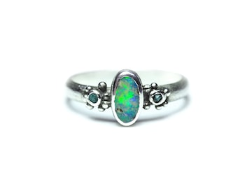 Boulder Opal and Blue Diamonds Granulation Silver Ring - Opal Ring - Raw Diamond - Size 9 - October Gemstone