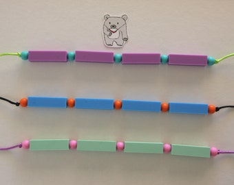 Colourful straight beaded silicone necklace