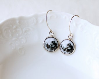 Full Moon - Astronomy jewelry - Space - Dangle Earrings