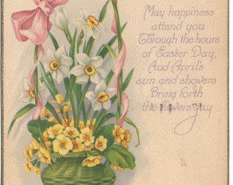"""Ester Basket with Citrus Yellow Pansies, and White Daffodils Easter Poem """"May Happiness attend you through the hours..."""" Vintage Postcard"""