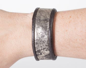 """Distressed Leather Cuff 