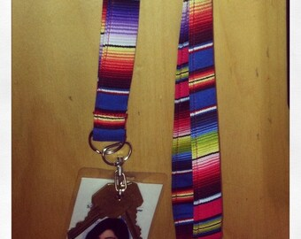Mexican serape lanyard- choice of wide or skinny
