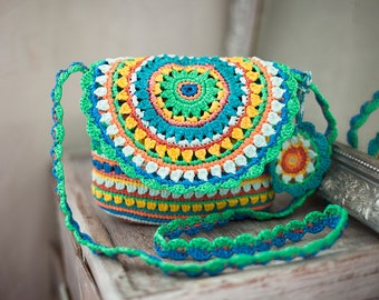 Mandala Bag Rainbow Purse Plarn Colorful Satchle Ecofriendly Green Yellow Handbag Gypsy Style Bag Boho Crochet Tote Summer Cross Body Bag