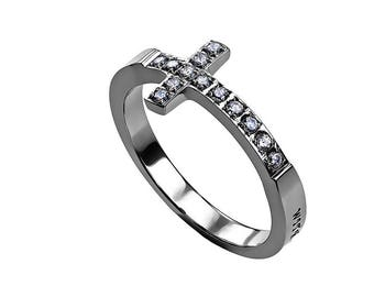 "Sideway Cross Ring ""Possible"""