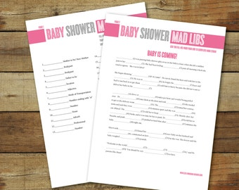 Baby shower Mad Libs, printable baby shower game, instant download, Mad Libs in pink and gray