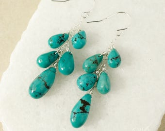 Silver Natural Blue Turquoise Cluster Earrings - Waterfall Earrings - 925 Silver