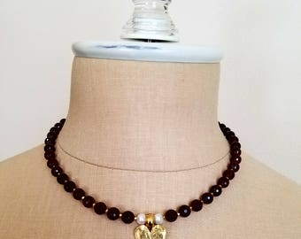 Garnet Necklace, Heart Necklace, Valentine's Day, Freshwater Pearl Necklace,