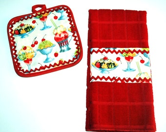 Retro Red Ice Cream Parlor Kitchen Towel & Pot Holder Set