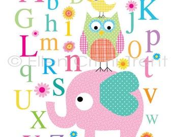 Girls Alphabet print- kids wall art