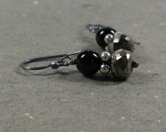 Pyrite Earrings Black Onyx Metallic Oxidized Sterling Silver Earrings Gift for Her