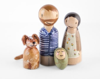 wooden peg family with dog - peg family for anniversary - keepsake baby announcement - we're expecting - gender reveal ideas for baby