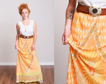 1960s Orange & White Summer Maxi Tank Dress - Daisies - Polka Dot - Busty - Boho - Hippie - Festival - Psychedelic - Goddess • M