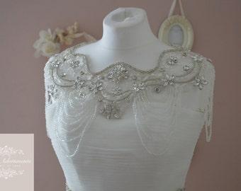 GRACE Luxury Vintage Style Crystal Bridal Bolero, Rhinestone wedding jacket