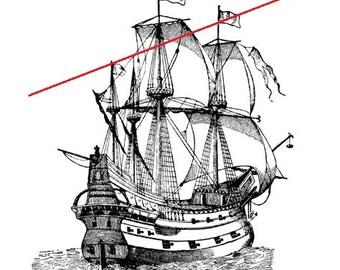 Vintage ship - temporary tattoo