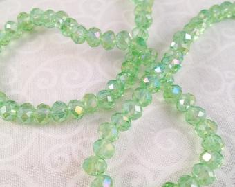 50 perle di cristallo 4 x 6 mm sfaccettato, verde acqua trasparente