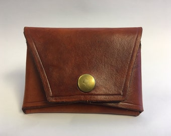 Handmade Leather Card Front Pocket Wallet with Snap Closure Business Card Case Personalized6 Month Wait Time