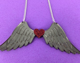 Wing necklace, angel wings, perspex necklace, perspex jewellery, perspex jewelry, angel necklace, handmade necklace, fun jewellery, fun jewe