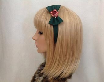 Dark green red burgundy rose headband hair bow rockabilly gothic Lolita cute pin up girl vintage shabby chic flower pretty floral Christmas