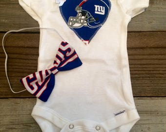 New York giants onesie, giants baby girl outfit, ny giants baby outfit