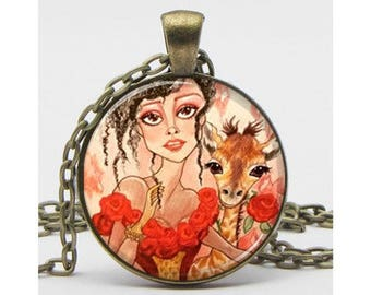 Chanel and the Giraffe Fantasy Art Necklace Fantasy Art Pendant Big Eye Pendant
