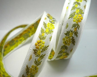 CLEARANCE SALE  50 discount   Floral Jacquard Ribbon Trim Yellow and Orange Flowers 1.09 yard