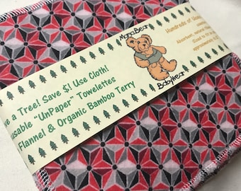 MamaBear Reusable Cloth Towelettes (Unpaper) Napkins Organic Bamboo Terry Set of 6 - Black and Red Geometric Stars
