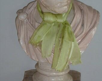 Absinthe green silk scarf-tie