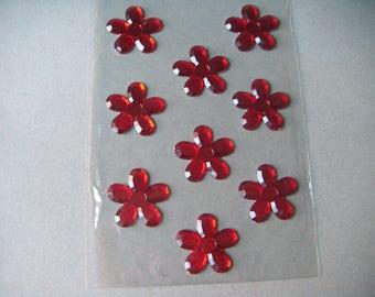 stickers red flower 4 cm x 9 rhinestones shaped