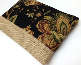 Clutch Purse, Free Personalization - Creamy Brown Flowers on Black, Burlap Jute Panel