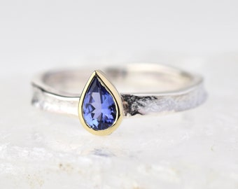 Tanzanite Pear Shaped Ring | December Birthstone Ring | Teardrop Tanzanite Ring | December Birthday Ring | Gift for Her | Alison Moore Alice