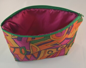 Bright Abstract Recycled Sari Cosmetic Bag Pouch - Sari Zip Pouch - Pure Silk Zip Pouch - Sari Silk Bag - Recycled Zip Pouch - CMCPOU0118